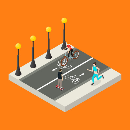 City Public Park or Square Object 3d Isometric View with Bike Path. Vector illustration of Concept Relaxation