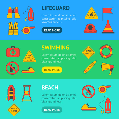 Cartoon Lifeguard Banner Horizontal Set. Vector