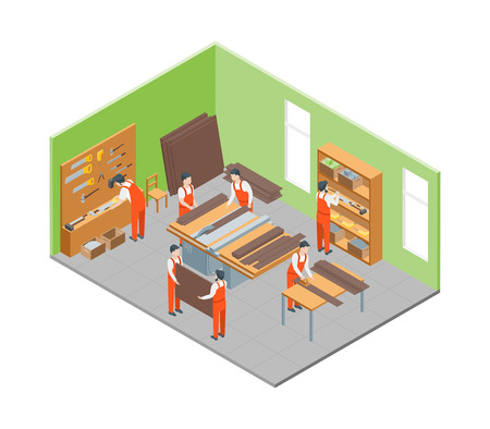 Furniture Makers at Work and Interior with Elements Isometric View. Vector Çizim