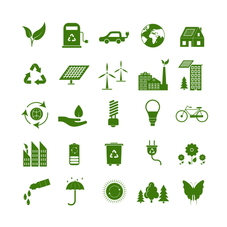 Cartoon Ecology Signs Green Icons Set. Vector
