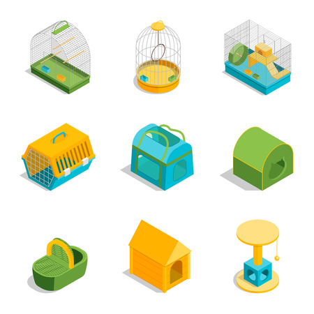 Pet Carriers Signs 3d Icons Set Isometric View. Vector