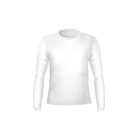 Realistic Detailed 3d Template Blank White T-shirts Front Side. Vector