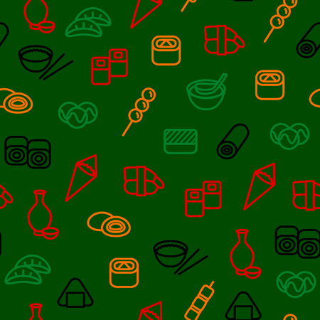 Japanese Foods Seamless Pattern Background. Vector