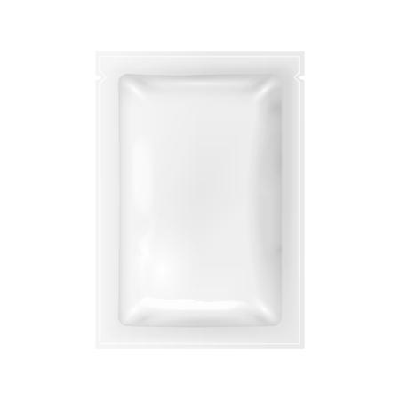 Realistic Detailed 3d White Disposable Foil Sachet. Vector Illustration