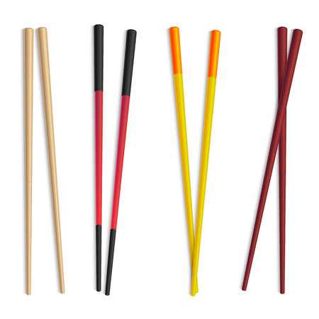 Realistic Detailed 3d Food Chopsticks Set. Vector