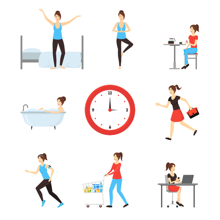 Cartoon Daily Routine Character Woman. Vector Stock Photo