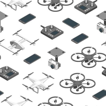 クワッドコプターと機器の技術制御シームレスなパターンの背景.ベクトル