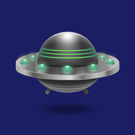 Realistic Detailed 3d Ufo Flying Spaceship. Vector