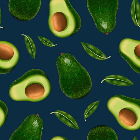 Realistic Detailed 3d Whole Avocado and Slice Seamless Pattern Background. Vector