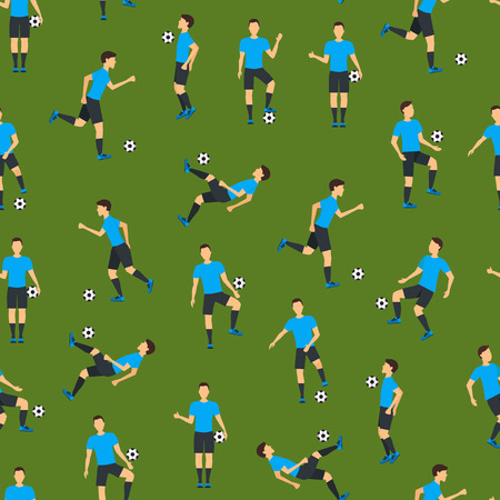 Cartoon Football Players Seamless Pattern Background. Vector