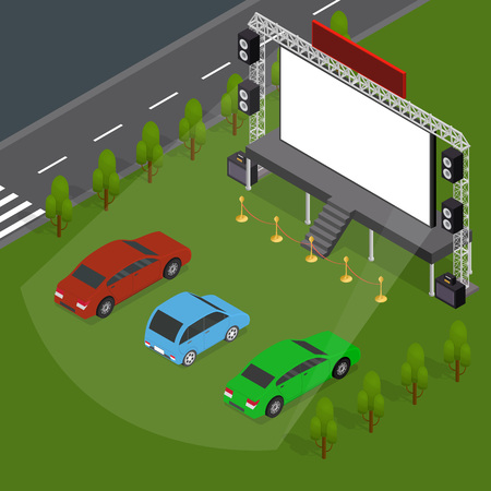 Open Air Cinema Concept Card 3d Isometric View. Vector