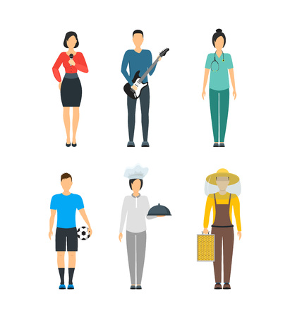 Cartoon Professional People Characters Icon Set. Vector