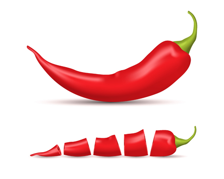 Realistic Detailed 3d Whole Red Hot Chili Pepper and Slice Set. Vector Stock Photo