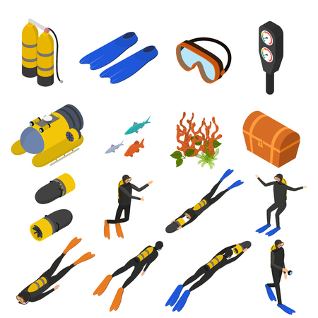 Scuba Diving Signs 3d Icons Set Isometric View. Vector Stock Photo