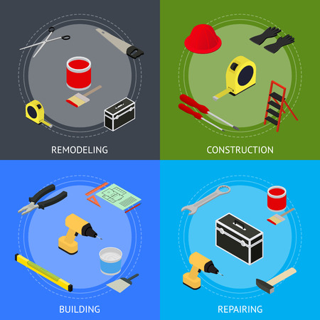 Home Repair Banner Card Set Isometric View. Vector Vettoriali