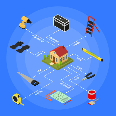 Home Repair Concept Isometric View. Vector