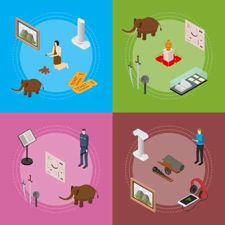 Museum Exhibits Galleries Banner Card Set Isometric View. Vector