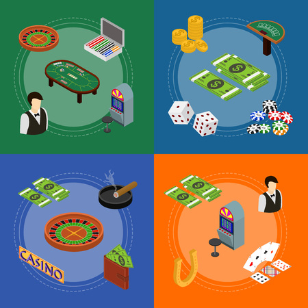 Casino and Gambling Game Banner Card Set Isometric View. Vector