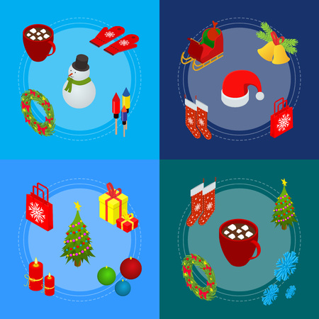 Christmas Celebration Banner Card Set 3d Isometric View. Vector
