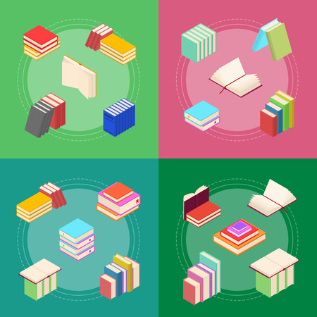 Stack Of Color Books Banner Card Set Isometric View. Vector Vetores