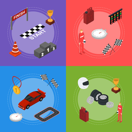 Racing Sport Banner Card Set Isometric View. Vector Illustration
