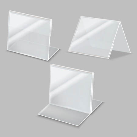 Realistic Detailed 3d Empty Plastic Holder Set. Vector