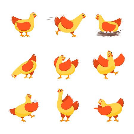 Cartoon Characters Happy Hens Set. Vector Imagens - 102886964