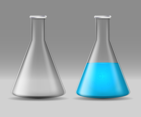 Realistic Detailed 3d Glass Chemical Laboratory Flask Set. Vector Stock Photo