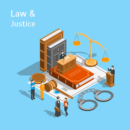 Law Justice Composition Concept 3d Isometric View. Vector