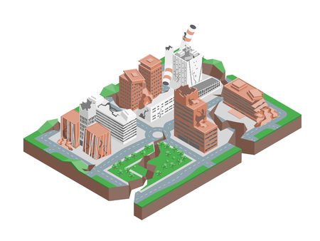 City Hit Earthquake Concept 3d Isometric View. Vector Standard-Bild - 102887046