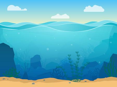 Cartoon zee onderwater scène kleur achtergrond. Vector