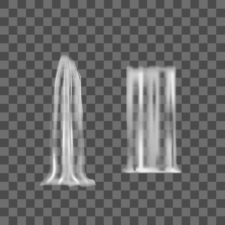 Realistic Detailed 3d Waterfall Elements Set. Vector