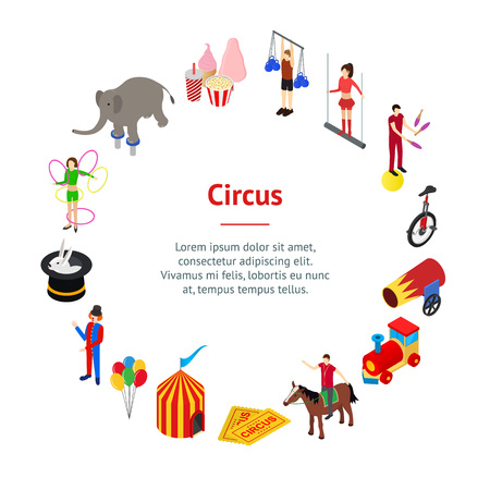 Circus Amusement and Attraction Banner Card Circle Isometric View. Vector Ilustração