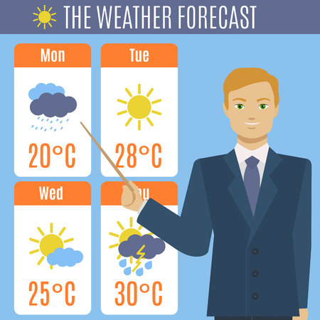 Cartoon TV Weather Forecast Concept. Vector