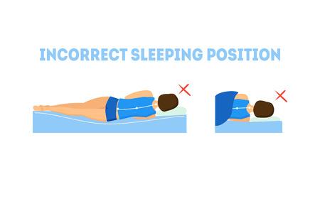 Cartoon Incorrect Sleeping Body Posture. Vector Çizim