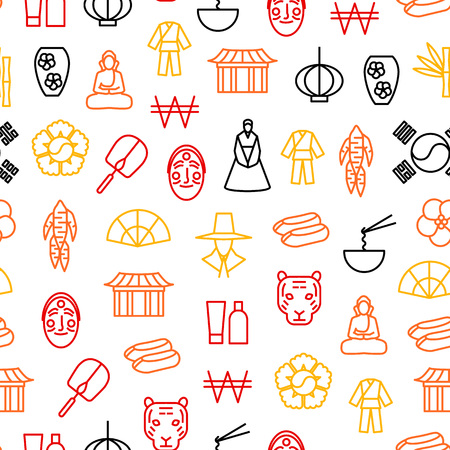 Korea Travel and Tourism Seamless Pattern Background. Vector