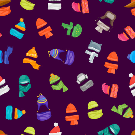 Cartoon Color Winter Hats and Scarves Headwear Seamless Pattern Background Store Concept Flat Design Style Knitting Caps for Cold Weather. Vector illustration
