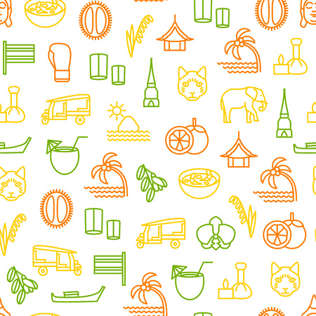 Thailand Travel and Tourism Seamless Pattern Background. Vector