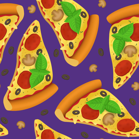 Realistic Detailed 3d Pizza Slice Seamless Pattern Background. Vector Illustration