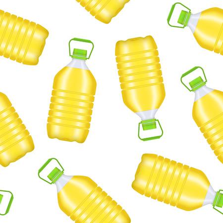 Realistic Detailed 3d Vegetable Oil Plastic Bottle Seamless Pattern Background. Vector Illustration