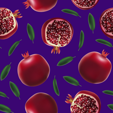 Realistic Detailed 3d Whole Pomegranate with Half Seamless Pattern Background Vector Illustration