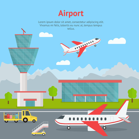 Cartoon Airport Building and Airplanes Concept Card. Vector