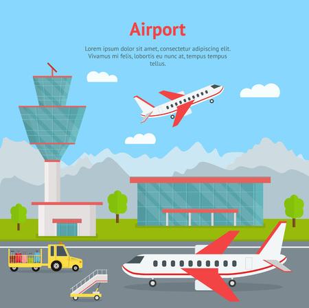 Edificio del aeropuerto de dibujos animados y tarjeta de concepto de aviones. Vector