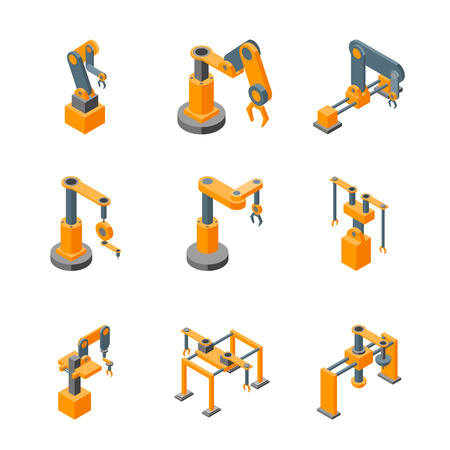 Conveyor Machines Robotic Hand Icons Set Isometric View. Vector