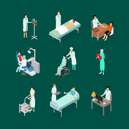 Nurses Attending Patients Icons Set Isometric View. Vector Illustration