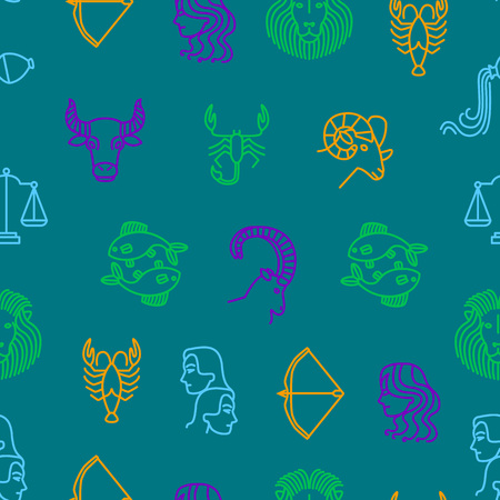 Zodiacal Seamless Pattern Background. Vector
