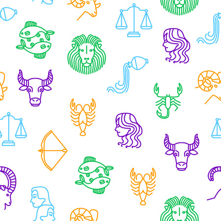 Zodiacal Thin Line Seamless Pattern Background. Vector