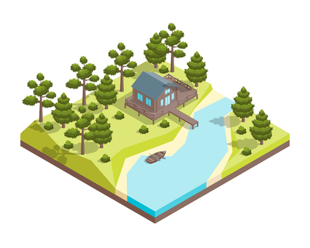 House Forest Lake Concept 3d Isometric View. Vector