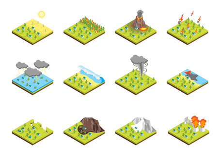 Nature Disaster Concept Set 3d Isometric View. Vector Illustration