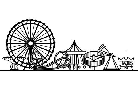 Silhouette Black Amusement Park. Vector